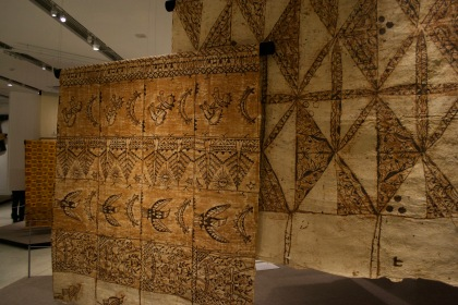 Tapa cloth (from bark) 'ngatu' from Tonga. Layers of Influence exhibtion, MOA at UBC Photo cred: Lauren Chancellor