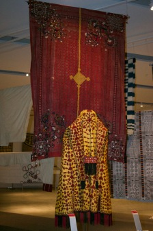 Pakistani wedding shawl. The designs on each corner are deconstructed peacocks. Layers of Influence exhibtion, MOA at UBC Photo cred: Lauren Chancellor