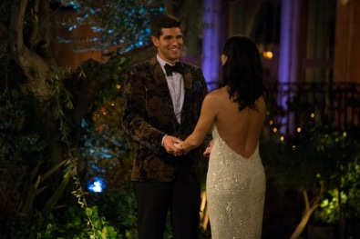 Ryan is the banjo guy from After the Final Rose. Although he doesn't serenade Becca tonight, he does have a very dramatic suit jacket and keeps Becca smiling.