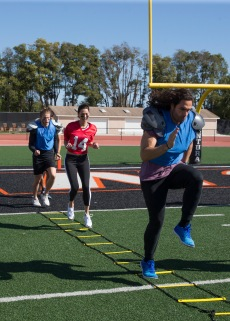 Becca joined in to run a couple drills herself... but she's really just trying to see Leo's butt right?