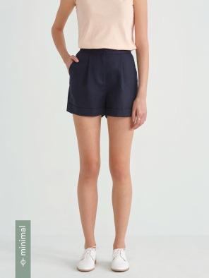 Front Pleated Linen Blend Short in Navy Blazer