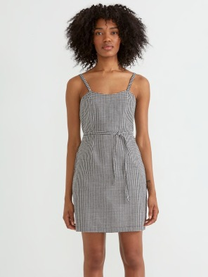 Vichy Knotted Dress in True Black