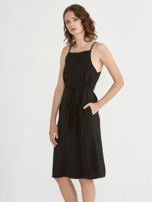 Crepe Button Down Dress in True Black