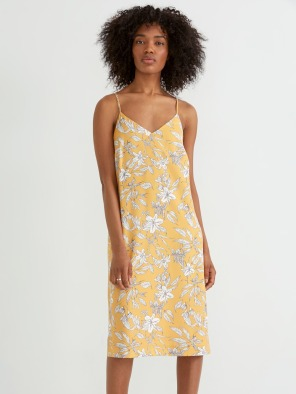 Floral Printed Slip Dress in Yellow