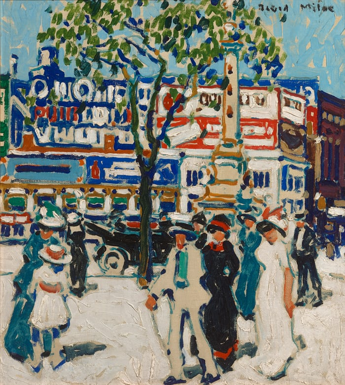 David Milne - Billboards, 1912 An early piece of Milne's from his time in NYC. The images in this first room were bright, commercially appealing, and in the Post-Impressionist of his contemporaries. Despite his commercial illustration background that brought him to NYC, billboards in his early New York pieces have jumbled letters so the viewer is unable to make out what the billboard is for.