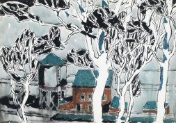 "David Milne - White Trees, 1916 Milne utilized a ""dazzle spot"" technique through many of his pieces. This strategy required a large blank spot on a painting that anchored the eye, allowing the viewer to orient themselves in the work before seeing the whole image. Here, the central white tree is a dazzle spot. Milne also deliberately made interrupted views in many pieces as he found this a more thrilling view than one which was unobstructed."