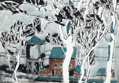 """David Milne - White Trees, 1916 Milne utilized a """"dazzle spot"""" technique through many of his pieces. This strategy required a large blank spot on a painting that anchored the eye, allowing the viewer to orient themselves in the work before seeing the whole image. Here, the central white tree is a dazzle spot. Milne also deliberately made interrupted views in many pieces as he found this a more thrilling view than one which was unobstructed."""