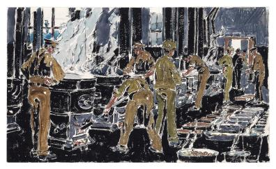 David Milne - Dinner is Served, 1919 Although Milne only made it to souther France after the war had been ended in 1918, he was still required to paint his scenes quickly of the aftermath quickly, before being driven to the next location. Here, he created his dry brush watercolour technique as he didn't have the time for the more common application.