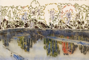 David Milne - Pond in Sunlight, 1920 Even after the war, Milne continued to experiment with the dry brush technique he had created during WWI, and then 'flooding' the lower half of an image with water to create the perception of a water's reflection in images such as this pond. After the war, much of his work showed a melancholic attitude with muted tones and an almost calligraphic understanding of the texture of nature.