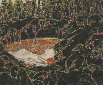 """David Milne - Red Pool, 1929 An entire room is dedicated to the Prospect Shaft paintings that are hallucinatory and """"deliberately unpretty"""". These Depression-era images show Milne's continued melancholic nature and his desire to analyze perceptions."""